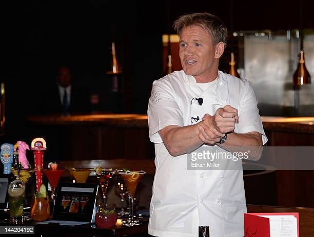 Television personality and chef Gordon Ramsay jokes around during a cooking demonstration and news conference held to celebrate the opening of his...