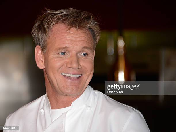Television personality and chef Gordon Ramsay smiles during a cooking demonstration and news conference held to celebrate the opening of his first...