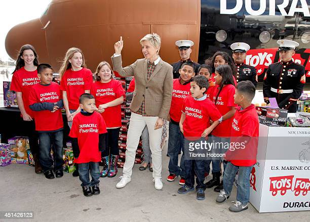 Television personality and comedian Ellen DeGeneres kicks off the Duracell Toys for Tots initiative 'Power A Smile' campaign at the Van Nuys Airport...