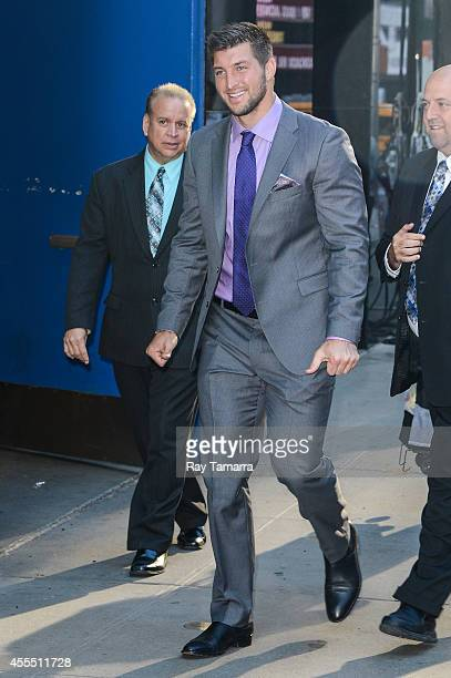 Television personality and former professional football player Tim Tebow leaves the Good Morning America taping at the ABC Times Square Studios on...