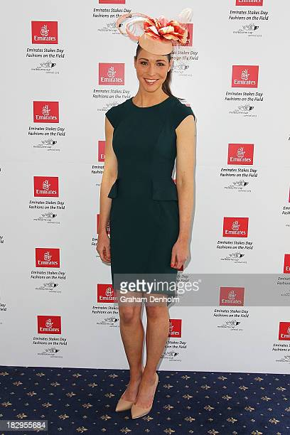 Television personality and former swimmer Giaan Rooney poses at the Emirates Stakes Day Fashion on the Field Launch at Flemington Racecourse on...