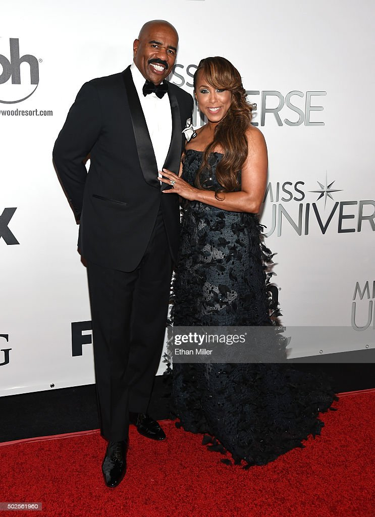Television personality and host Steve Harvey (L) and his wife Marjorie Harvey attend the 2015 Miss Universe Pageant at Planet Hollywood Resort & Casino on December 20, 2015 in Las Vegas, Nevada.