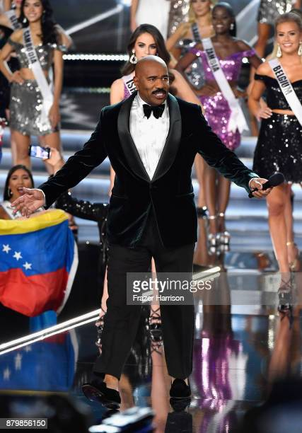 Television personality and host Steve Harvey appears during the 2017 Miss Universe Pageant at The Axis at Planet Hollywood Resort Casino on November...
