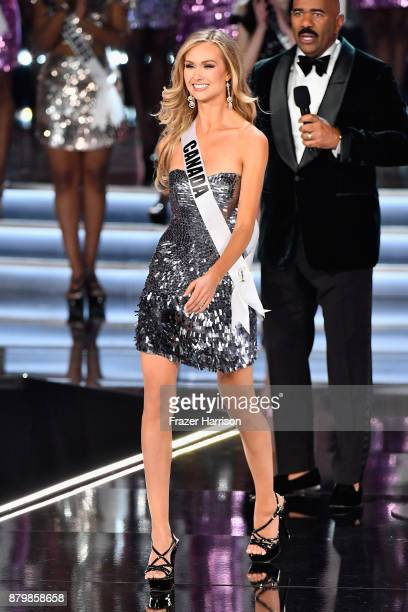 Television personality and host Steve Harvey speaks as Miss Canada 2017 Lauren Howe is named a top 16 finalist during the 2017 Miss Universe Pageant...