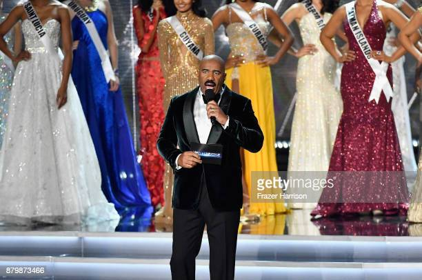 Television personality and host Steve Harvey speaks during the 2017 Miss Universe Pageant at The Axis at Planet Hollywood Resort Casino on November...