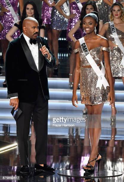 Television personality and host Steve Harvey speaks with Miss Ghana 2017 Ruth Quarshie after she is named a top 16 finalist during the 2017 Miss...