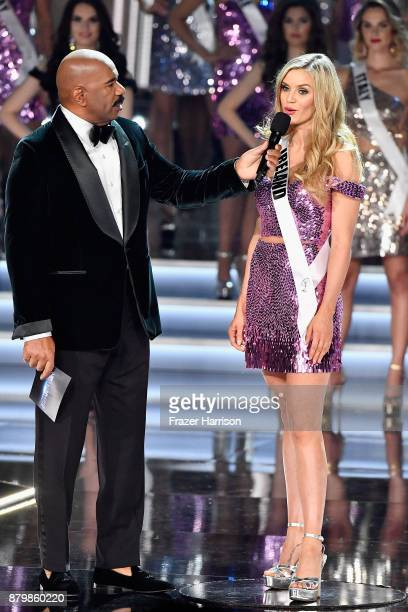 Television personality and host Steve Harvey speaks with Miss Ireland 2017 Cailin Aine Ni Toibin after she is named a top 16 finalist during the 2017...