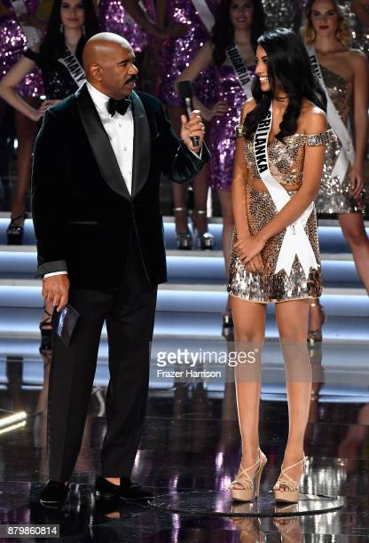 Television personality and host Steve Harvey speaks with Miss Sri Lanka 2017 Christina Peiris after she is named a top 16 finalist during the 2017...