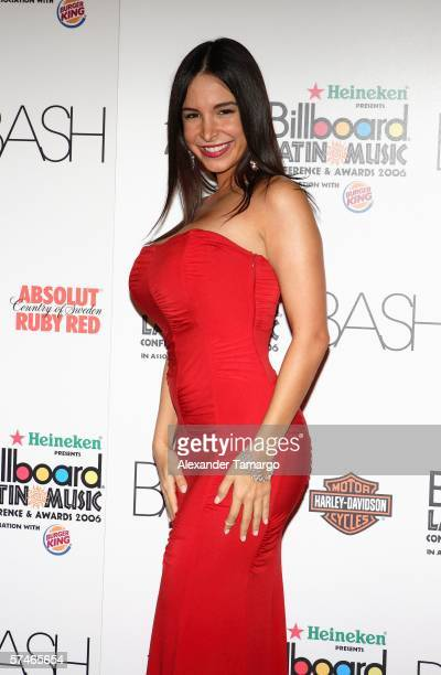 Television personality and Maxim model Mayra Veronica poses at the Billboard Bash party at the Ritz Carlton South Beach on April 26 2006 in Miami...