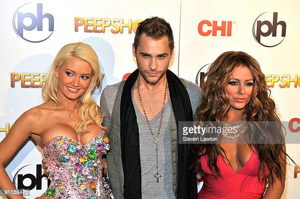 Television personality and model Holly Madison singer Josh Strickland and singer Aubrey O'Day attend Peepshow at Planet Hollywood Resort and Casino...
