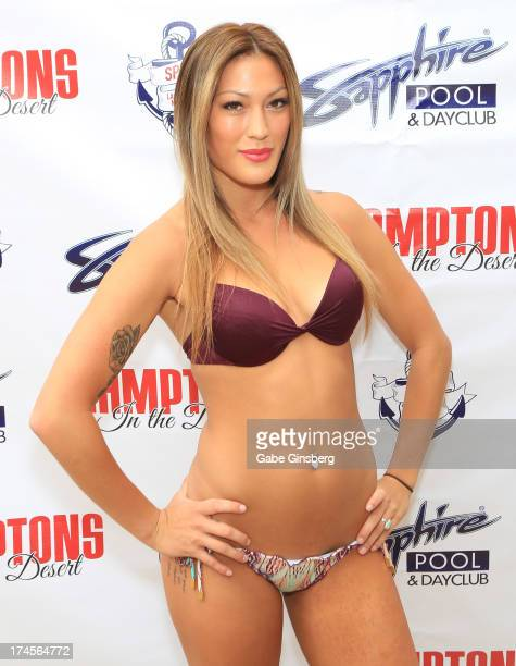 Television personality and model Joi Hollie arrives at the Sapphire Pool Day Club to host a bikini contest on July 27 2013 in Las Vegas Nevada