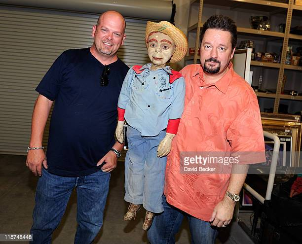 Television personality and owner of the Gold Silver Pawn Shop Rick Harrison and ventriloquist Terry Fator appear with a vintage puppet at the Gold...