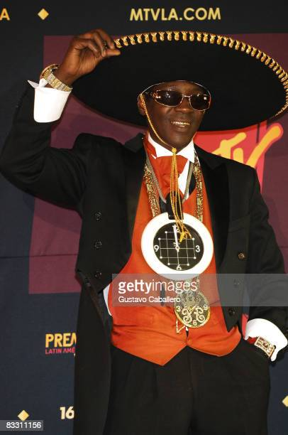 Television personality and rapper Flava Flav poses in the press room during the 7th Annual 'Los Premios MTV Latin America 2008' Awards held at the...