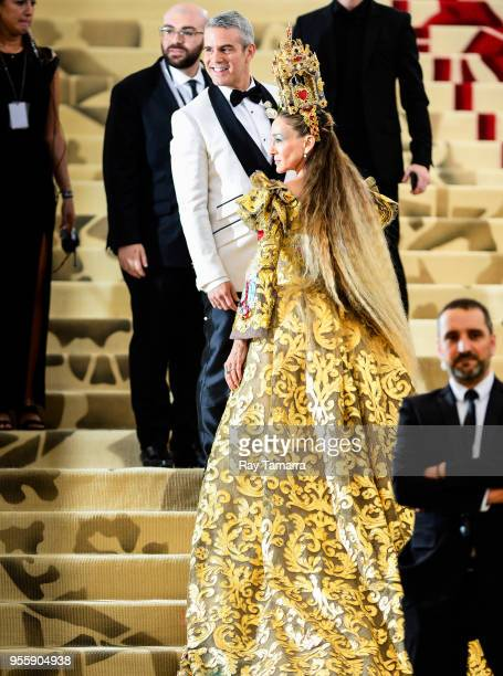 Television personality Andy Cohen and actress Sarah Jessica Parker enter the Heavenly Bodies: Fashion & The Catholic Imagination Costume Institute...