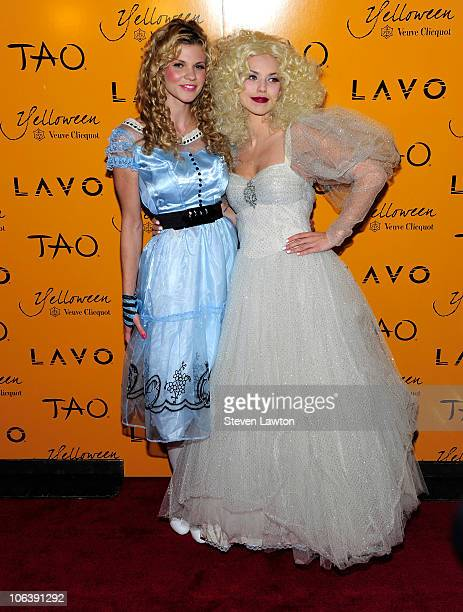 Television personality Angel McCord and actress Annalynne McCord arrive for Veuve Clicquot's Yelloween at the Lavo Restaurant Nightclub at The...