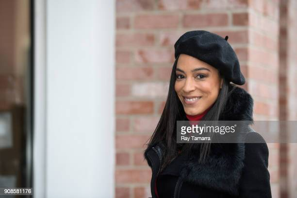 Television personality Angela Rye walks in Park City on January 21 2018 in Park City Utah
