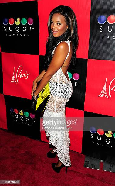 Television personality Angela Simmons arrives at Sugar Factory inside the Paris Las Vegas on August 5 2012 in Las Vegas Nevada
