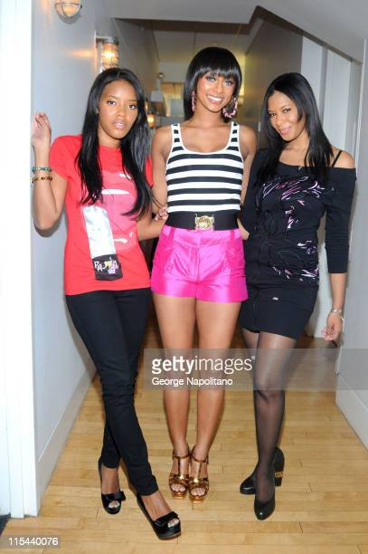 Television personality Angela Simmons singer Keri Hilson and television personality Vanessa Simmons visit MTV's TRL at the MTV studios in Times...