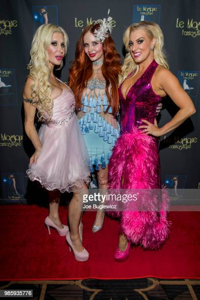 Television personality Angelique Frenchy Morgan actress Phoebe Price and producer Suzie Malone attend the opening night of Le Magique Fantastique...