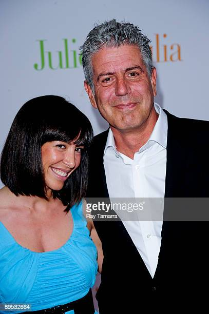 Television personality Anthony Bourdain and Ottavia Busia attend the 'Julie Julia' premiere at the Ziegfeld Theatre on July 30 2009 in New York City