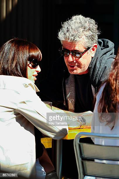 Television personality Anthony Bourdain and Ottavia Busia eat at Bar Pitti on March 31 2009 in New York City