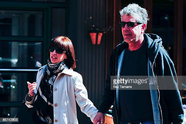 Television personality Anthony Bourdain and Ottavia Busia walk in the West Village on March 31 2009 in New York City