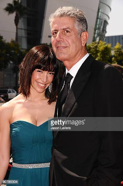 Television personality Anthony Bourdain and wife Ottavia Busia attend the 2009 Creative Arts Emmy Awards at Nokia Theatre LA Live on September 12...