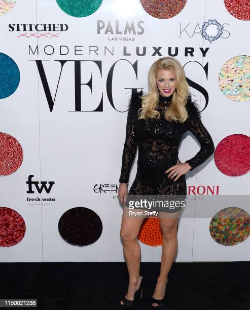 Television personality Aubrey Marunde attends Vegas Magazine's 16th anniversary party at KAOS Nightclub at Palms Casino Resort on May 17 2019 in Las...