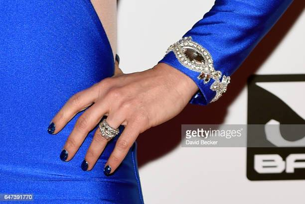 Television personality Aubrey Marunde jewelry detail attends the ninth annual Fighters Only World Mixed Martial Arts Awards at The Palazzo Las Vegas...