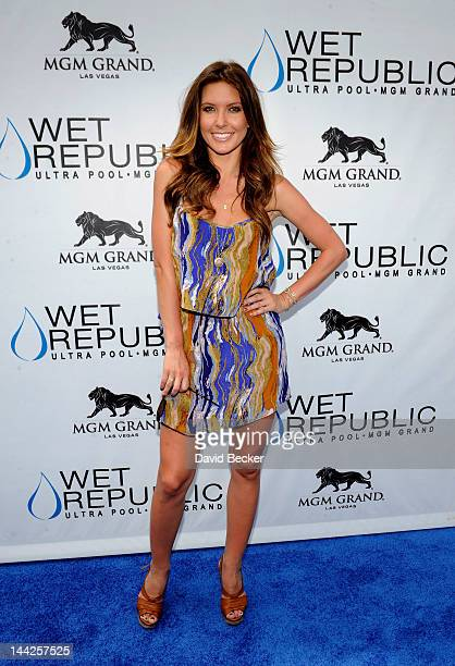 Television personality Audrina Patridge arrives at the Wet Republic pool at the MGM Grand Hotel/Casino on May 12 2012 in Las Vegas Nevada