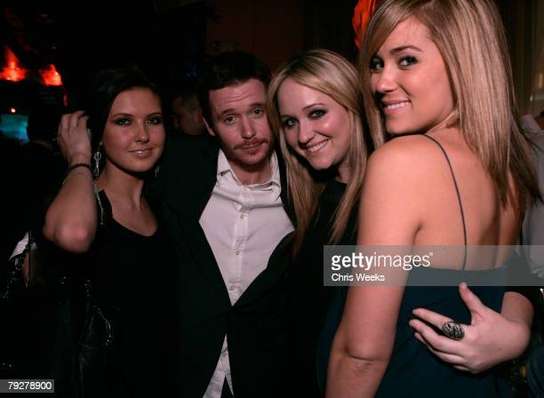 Television personality Audrina Patridge from left actor Kevin Connolly an unidentified guest and television personality Lauren Conrad attend the...