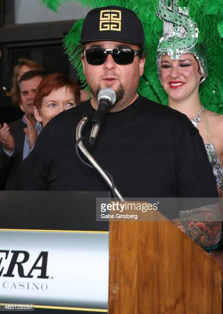 """Television personality Austin """"Chumlee"""" Russell from History's """"Pawn Stars"""" television series speaks to the media at the Riviera Hotel & Casino on..."""