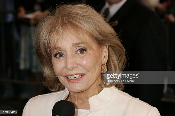 Television personality Barbara Walters arrives at the New Amsterdam theater for the Dana Reeve Memorial Service April 10, 2006 in New York City.