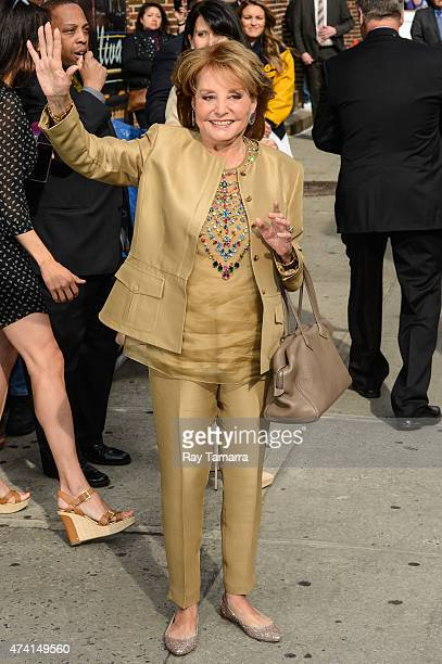 """Television personality Barbara Walters enters the """"Late Show With David Letterman"""" taping at Ed Sullivan Theater on May 20, 2015 in New York City."""