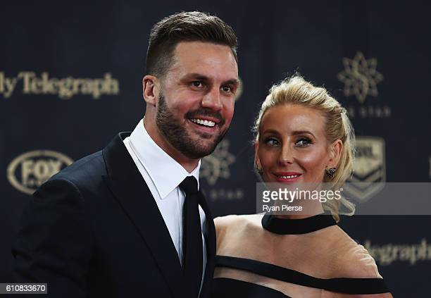 Television personality Beau Ryan and wife Kara Orrell arrive at the 2016 Dally M Awards at Star City on September 28 2016 in Sydney Australia