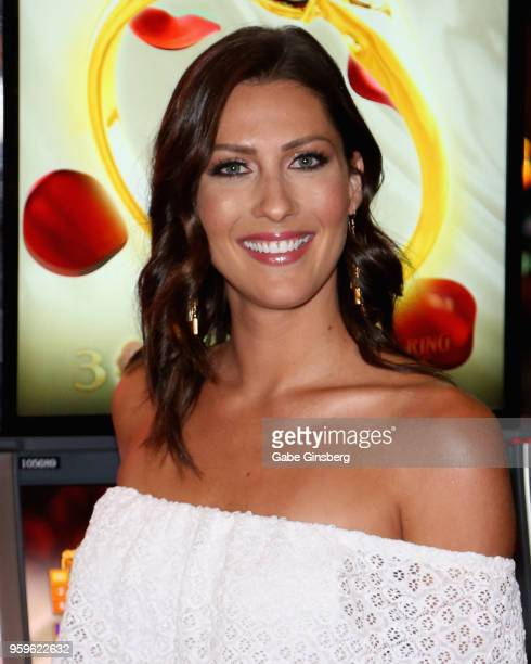 Television personality Becca Kufrin attends an unveiling of 'The Bachelor' themed slot machine at the MGM Grand Hotel Casino on May 17 2018 in Las...