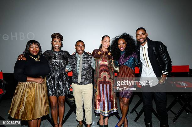 Television personality Bevy Smith actress Issa Rae showrunner Prentice Penny filmmaker Melina Matsoukas actress Yvonne Orji actor Jay Ellis pose for...
