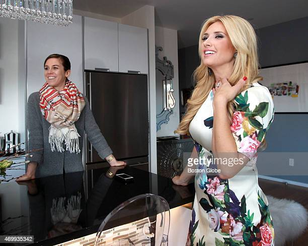 Television personality Bianca de la Garza right at her home in Boston Mass talking with blogger Kaitlin Madden March 18 2015 De la Garza hosts Bianca...
