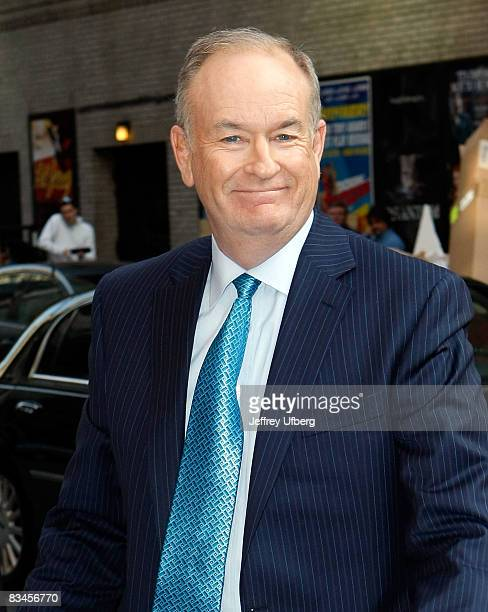 Television personality Bill O'Reilly visits Late Show with David Letterman at the Ed Sullivan Theater on October 27 2008 in New York City