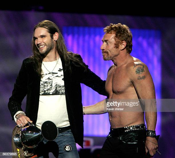 Television personality Bo Bice accepts his award for Big Reality Star as actor Danny Bonaduce looks on onstage at the VH1 Big In '05 Awards held at...