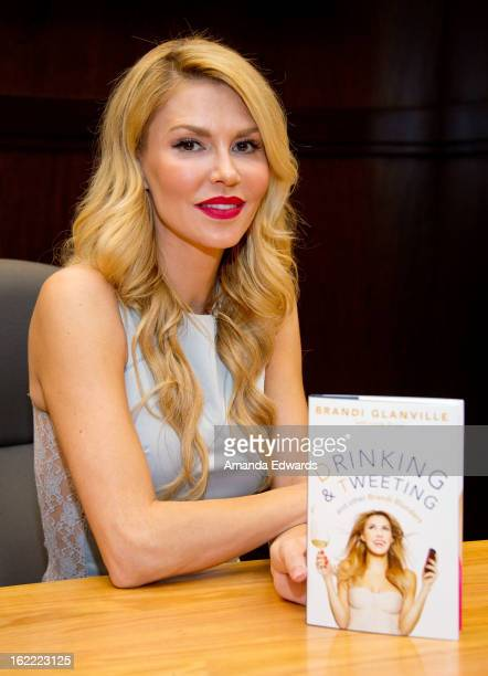 Television personality Brandi Glanville poses before signing copies of her new book Drinking And Tweeting at Barnes Noble bookstore at The Grove on...