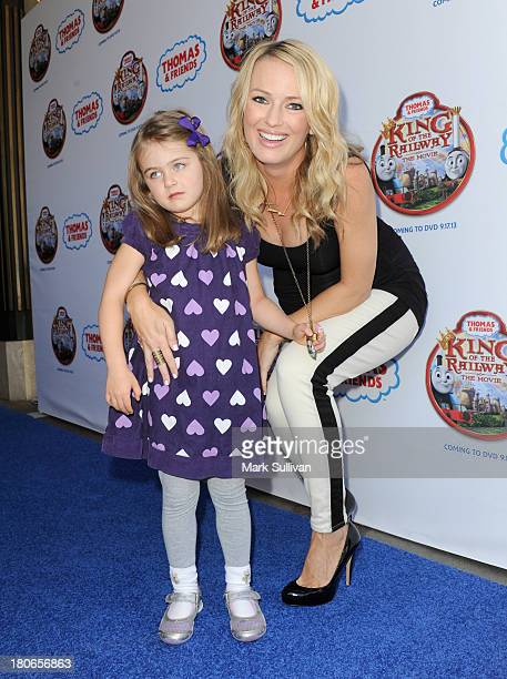 """Television personality Brook Anderson and daughter Kate attend the """"Thomas & Friends: King of the Railway"""" blue carpet premiere at The Grove on..."""