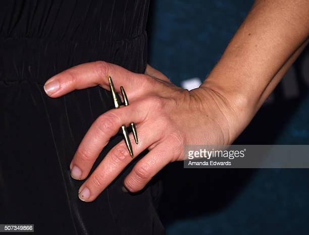 Television personality Brooke Van Poppelen ring detail arrives at the premiere of truTV's Those Who Can't at The Wilshire Ebell Theatre on January 28...