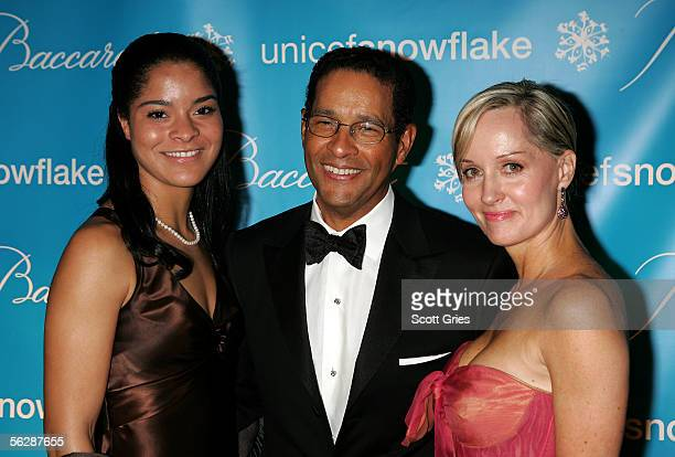 Television personality Bryant Gumbel poses with his daughter Jillian Beth and his wife Hillary at the 2nd Annual Snowflake Ball at the WaldorfAstoria...