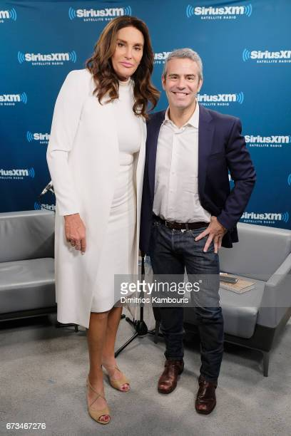 Television personality Caitlyn Jenner and host Andy Cohen pose during the SiriusXM 'Town Hall' with Caitlyn Jenner 'Town Hall' to air on Andy Cohen's...