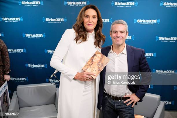 Television personality Caitlyn Jenner and host Andy Cohen poses during the SiriusXM 'Town Hall' with Caitlyn Jenner 'Town Hall' to air on Andy...