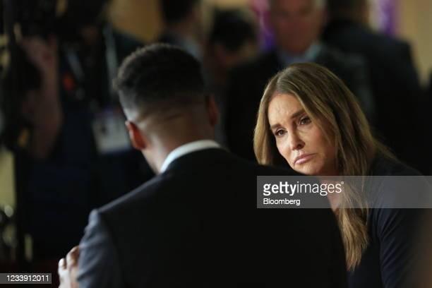 Television personality Caitlyn Jenner listens during an interview during the Conservative Political Action Conference in Dallas, Texas, U.S., on...