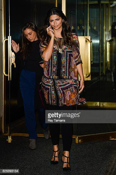 Television personality Camila Alves leaves the Today Show taping at the NBC Rockefeller Center Studios on April 27 2016 in New York City