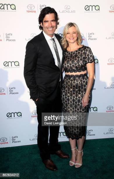 Television personality Carter Oosterhouse and actress Actress Amy Smart attend the 27th Annual EMA Awards at Barker Hangar on September 23 2017 in...