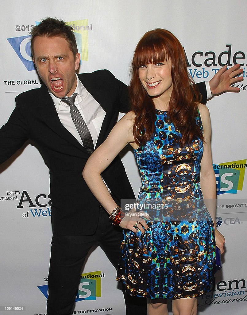 Television personality Chris Hardwick (L) and actress Felicia Day arrive at the IAWTV Awards at the CES 2013 Show at the Palazzo Theater at the Palazzo Resort Hotel/Casino on January 8, 2013 in Las Vegas, Nevada.